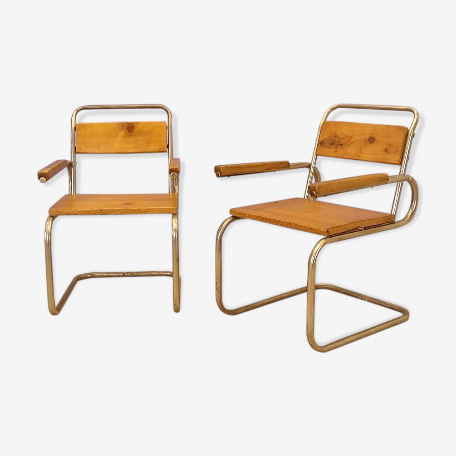 Paire de fauteuils luges en bois et acier brossé 1940