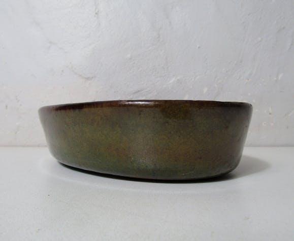 Ancien plat à four en terre cuite vernissée vintage art populaire