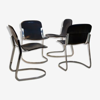 Set of four black saddle leather dining chairs by Willy Rizzo for Cidue, Italy 1970s