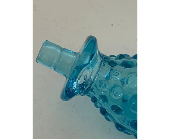 Carafe en verre à bulles turquoise vintage 1970