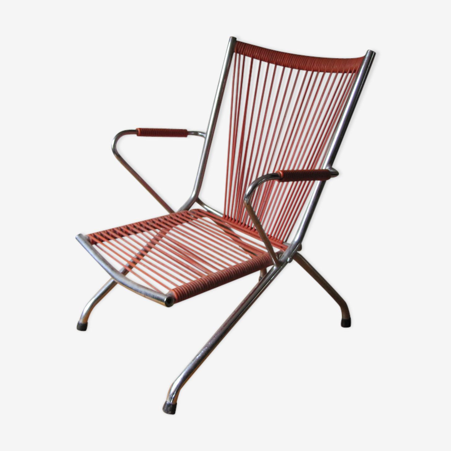 Chair child scoubidou folding vintage 60s