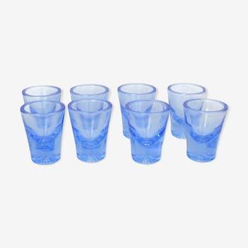 Set de 8 verres à vodka Rudolfova Sklarna Tchécoslovaquie années 1960