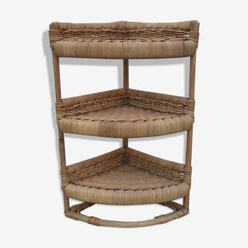 Corner Wicker rattan 60 - 70s shelf