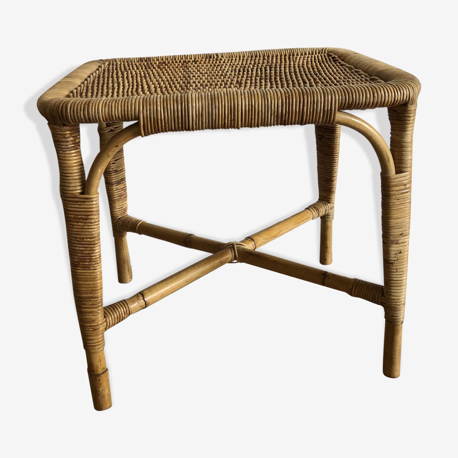 Table basse en rotin vintage année 50/60