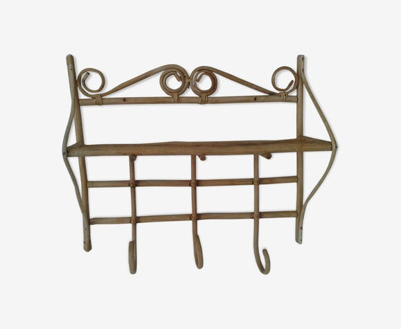 Vintage rattan coat rack years 60