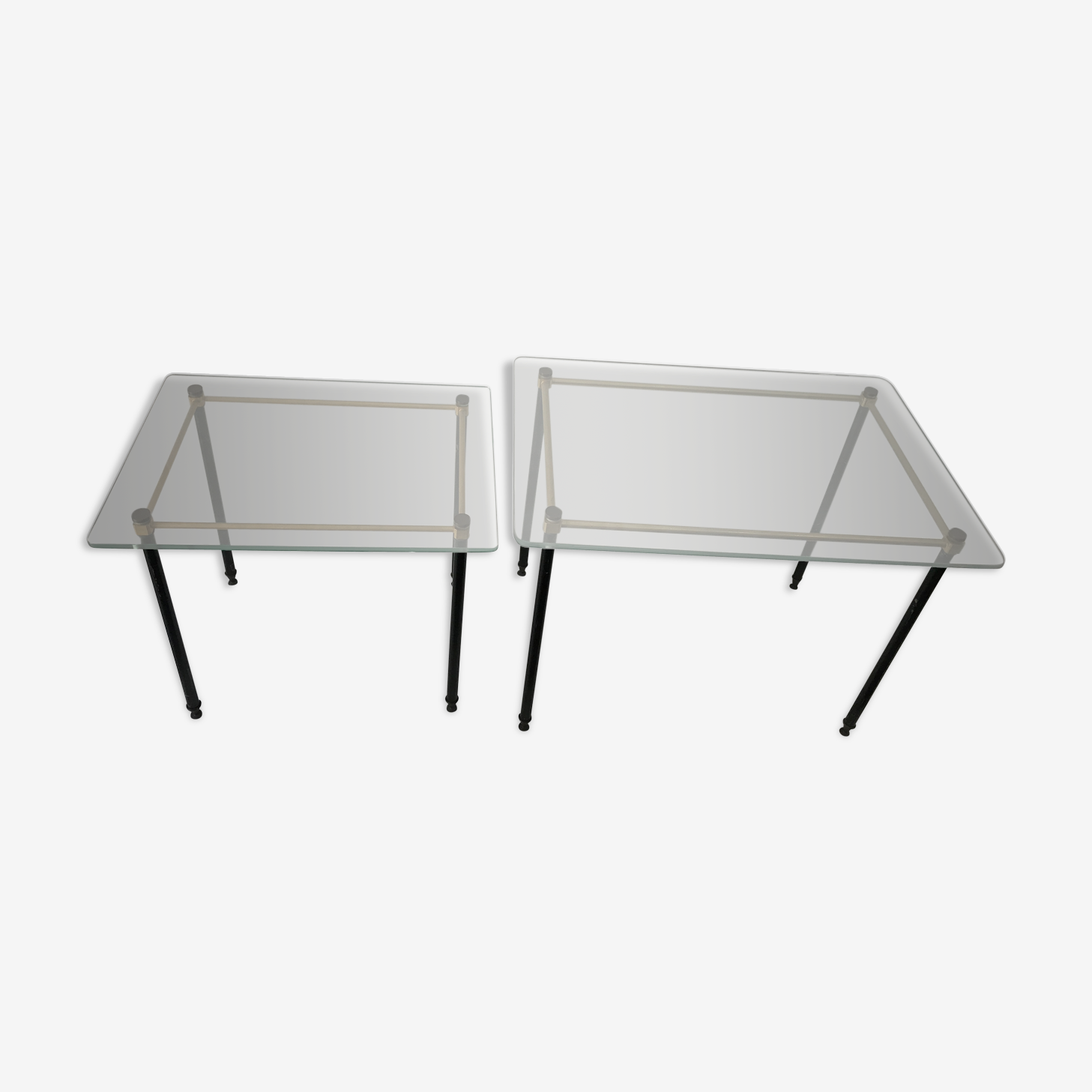 Pull out tables in glass and brass 1950