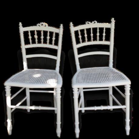 Chaise de Chambre Louis XVI Patine blanche Shabby