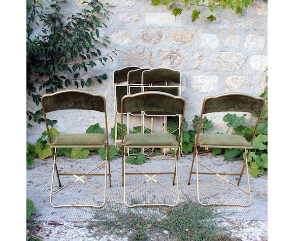 Série de 6 chaises pliantes vintage