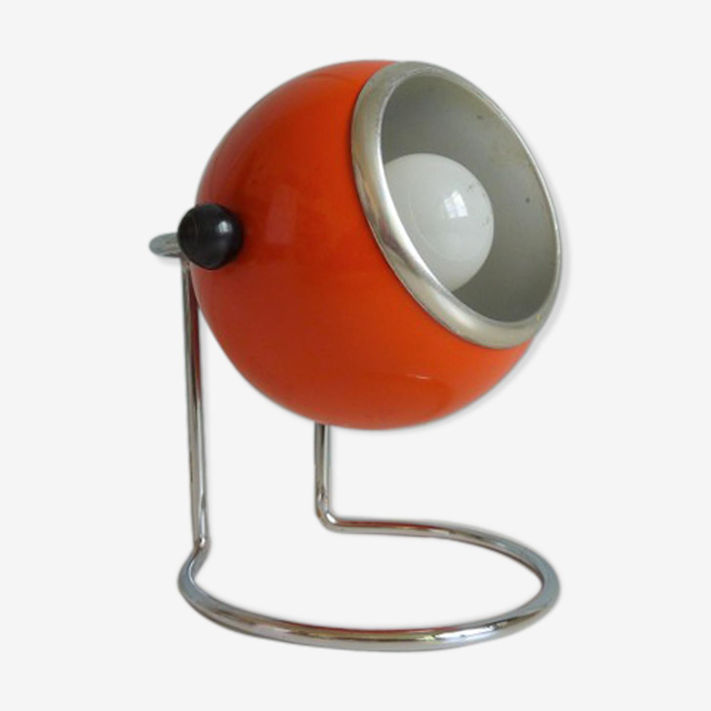 Lampe à poser Eyeball boule orange années 70