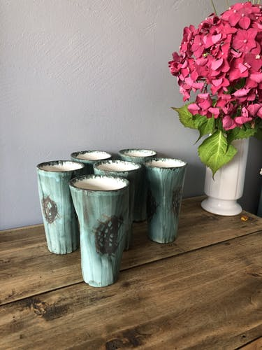 Set de 6 gobelets en céramique vintage