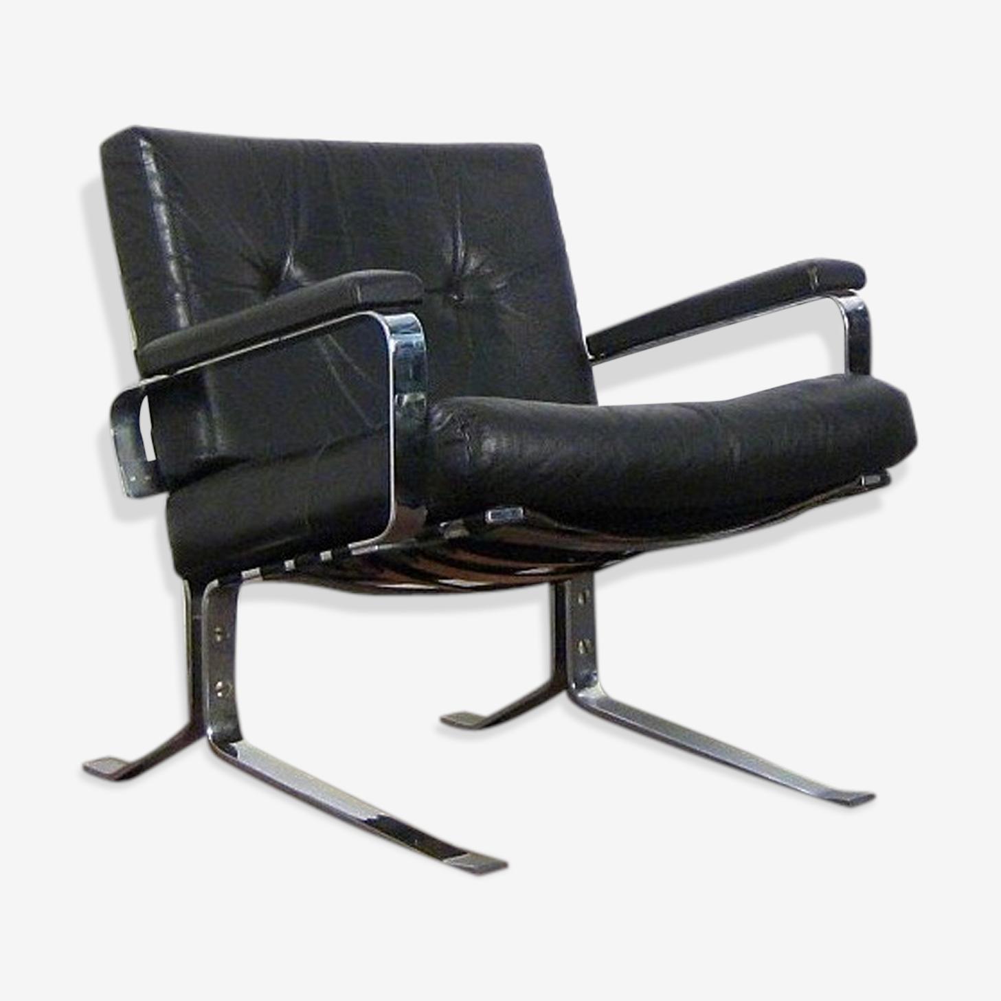 Fauteuil noir design cuir et chrome 1960 cuir noir design