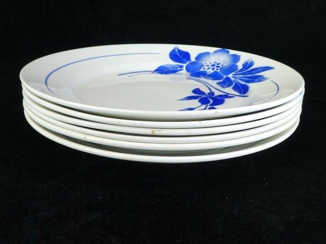 Set de 6 assiettes bleu Limoges modele Flore
