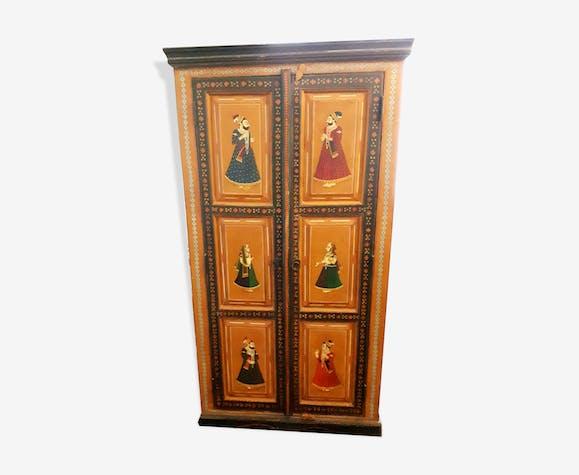 Armoire indienne artisanale peinte à la main