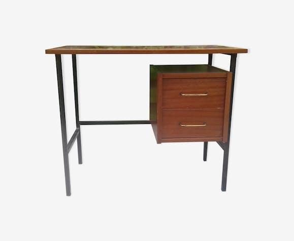 Bureau 2 tiroirs bois et métal noir année 60 vintage bois