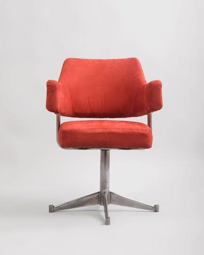 Steel and alcantara swivel armchair, 1970