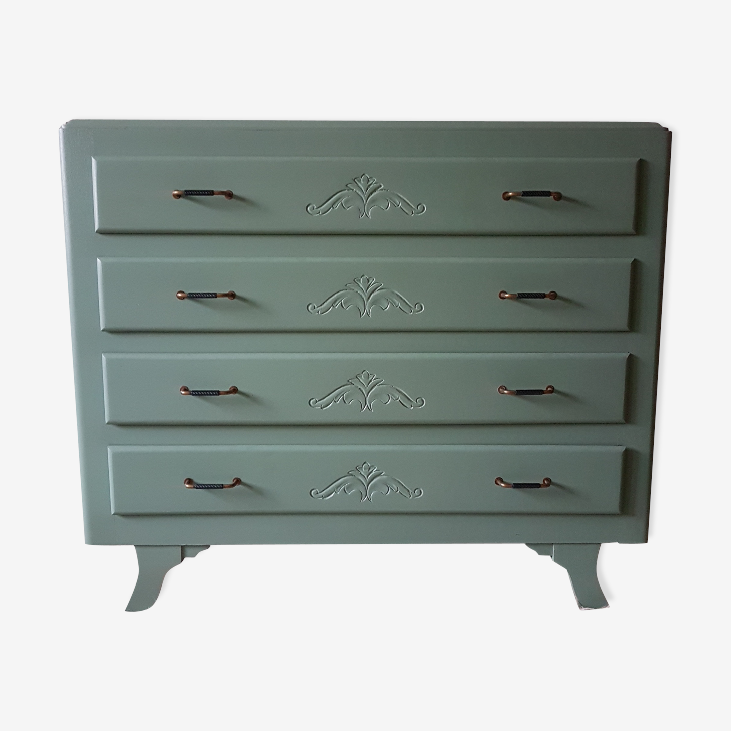 Chest of drawers art deco green Sage handle brass and black