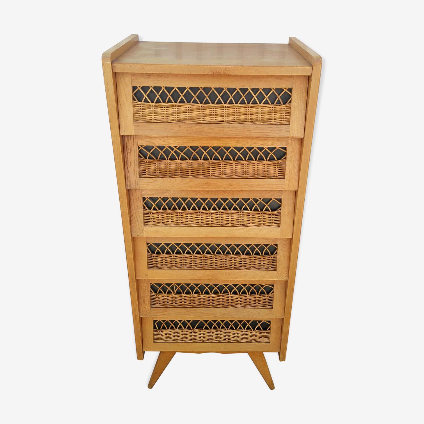 Dresser in oak and wicker