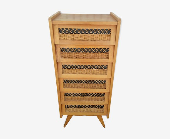 Dresser in oak and wicker
