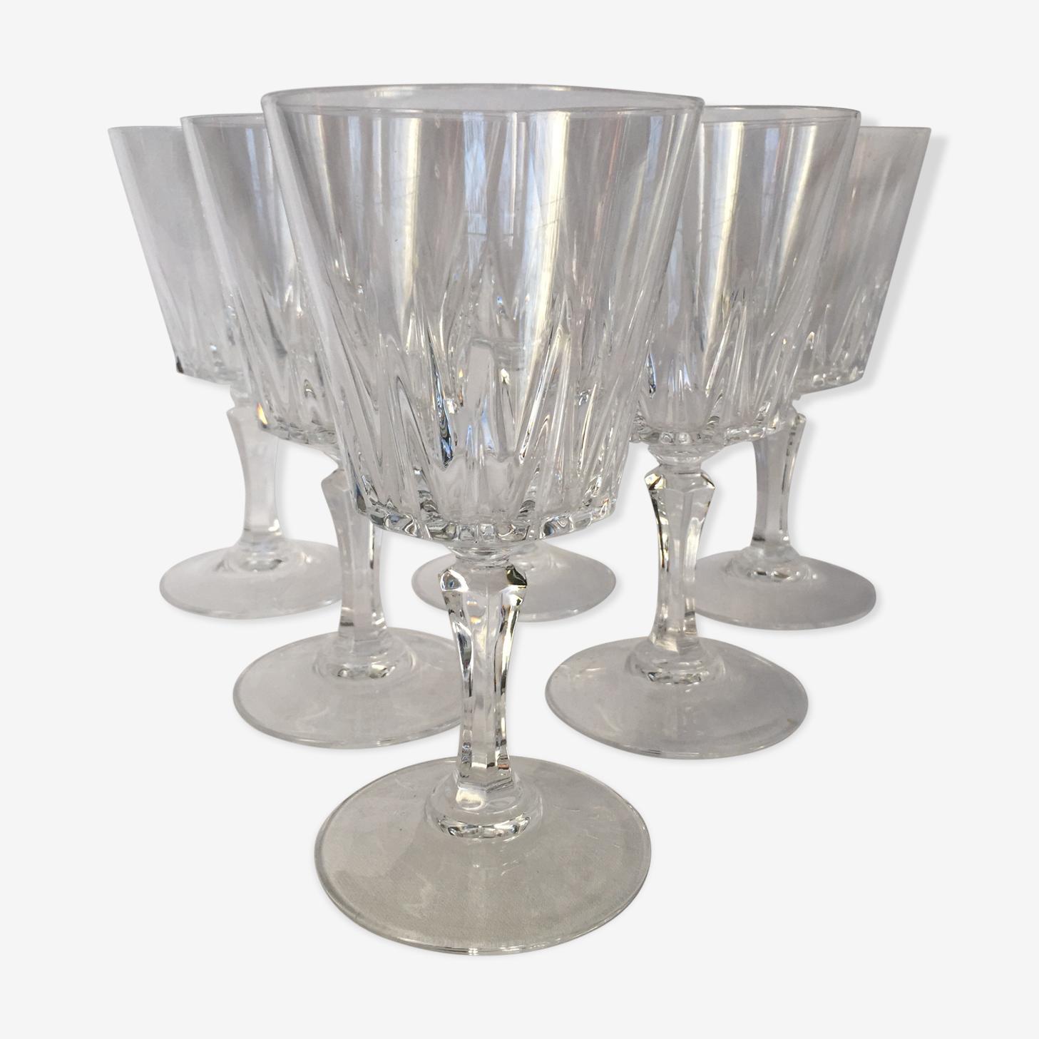 Set of 6 glasses cut crystal
