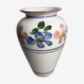Vase old D. DINIS painted ceramics drawing flowers Decoration Vintage