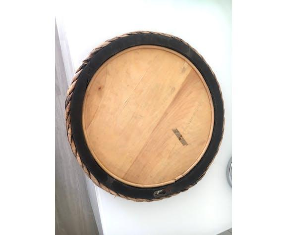 Miroir vintage rotin tressé - 40cm