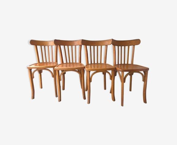 Ensemble de 4 chaises anciennes vintage style bistrot luterma bois mat riau bois - Style chaises anciennes ...