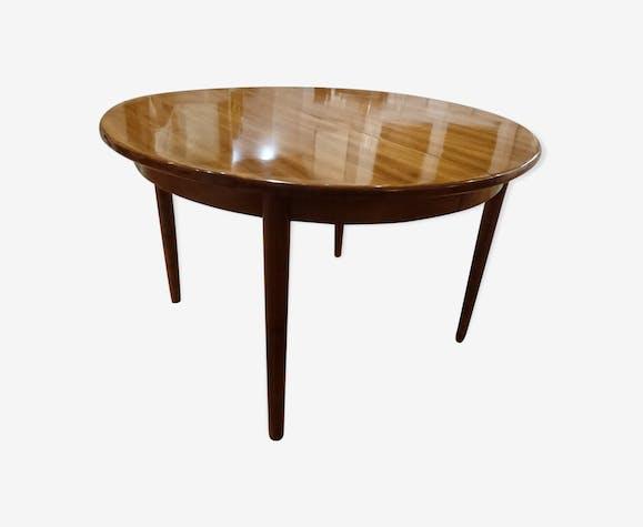 Table ronde scandinave en acajou massif - bois (Matériau) - marron ...