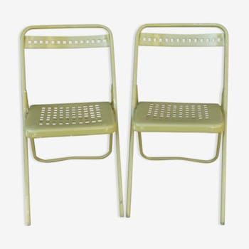 Paire de chaises de jardin pliantes en métal vert olive
