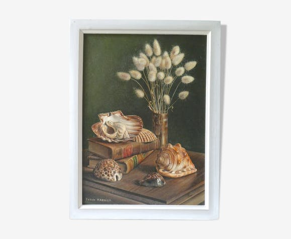Painting, still life with shells, 70s