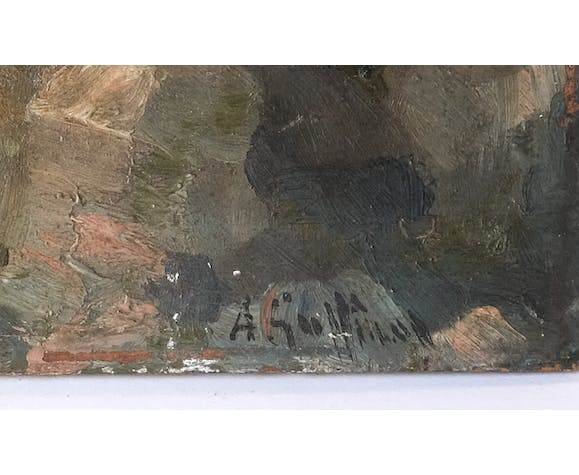 Antique painting 19th, ancient mountain painting