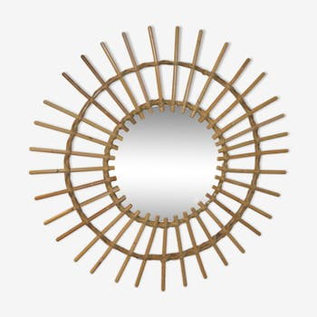 Miroir soleil en rotin 68x68cm