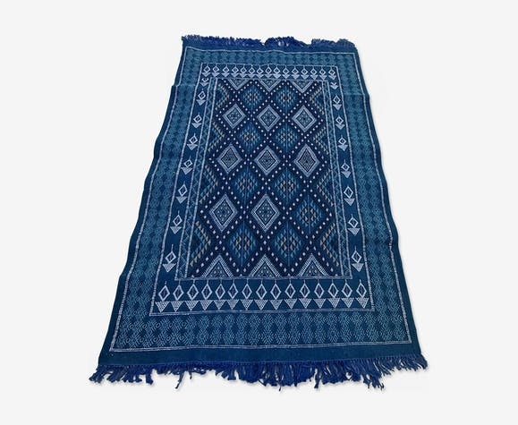 Tapis bleu fait main traditionnel 188×113cm