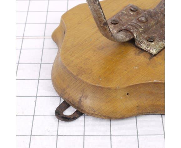 Metal patère on wooden base