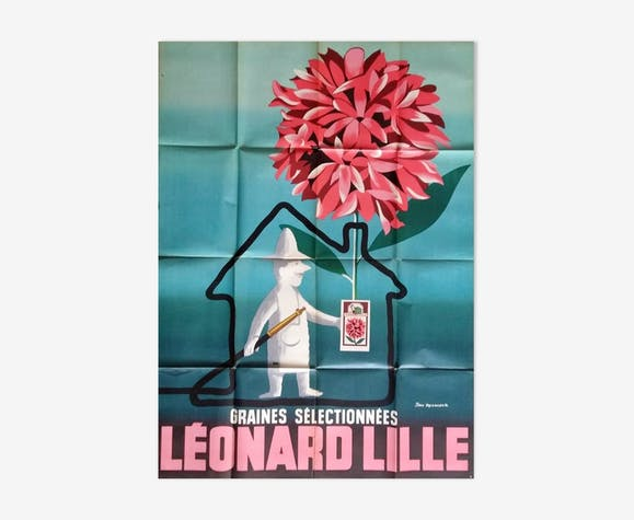 Affiche publicitaire originale 1958 Léonard Lille graines sélectionnées 120x160 Jean Desaleux
