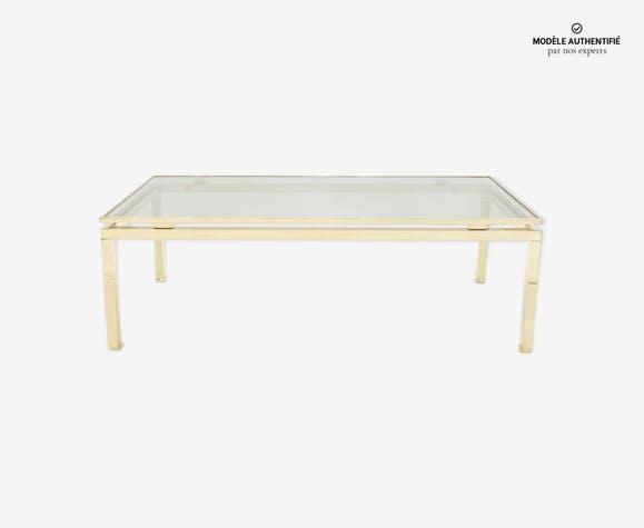 Table basse verre laiton de Guy Lefevre pour Maison Jansen 1970