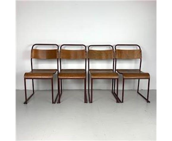 Ensemble de 4 chaises empilables en acier et tissu des années 60 fabriquées par Du-Al en Angleterre.
