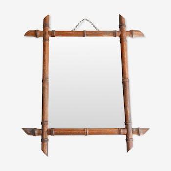 miroir cadre en bois glace biseaut e 90x65cm bois. Black Bedroom Furniture Sets. Home Design Ideas