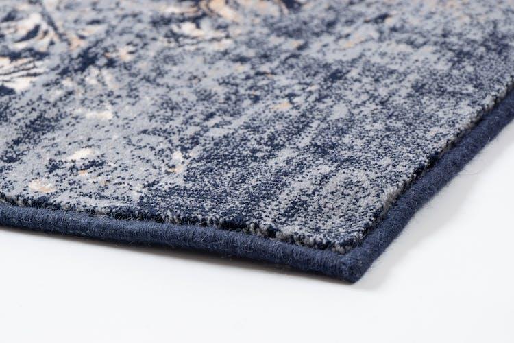 Tapis en laine bleu doré
