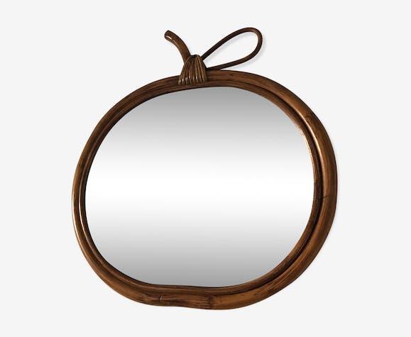 Miroir pomme rotin années 1960 32 x 31 cm