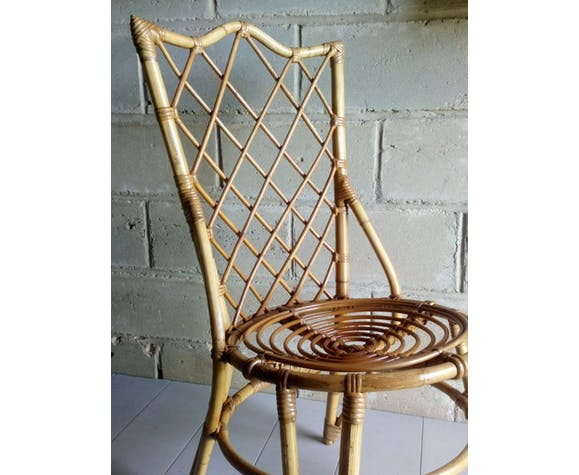 Chaise en rotin 1950