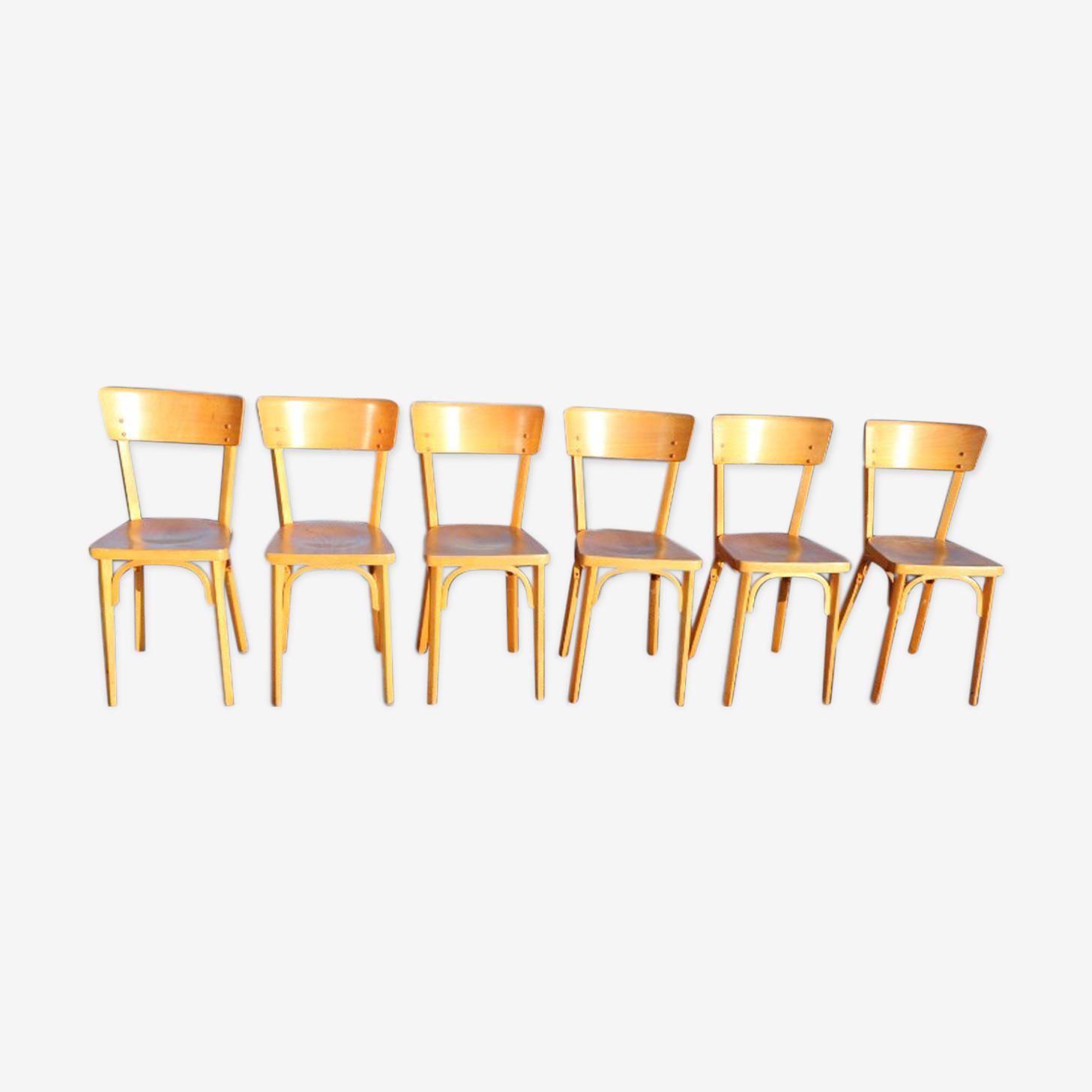 6 chaises Baumann n°24 hêtre clair