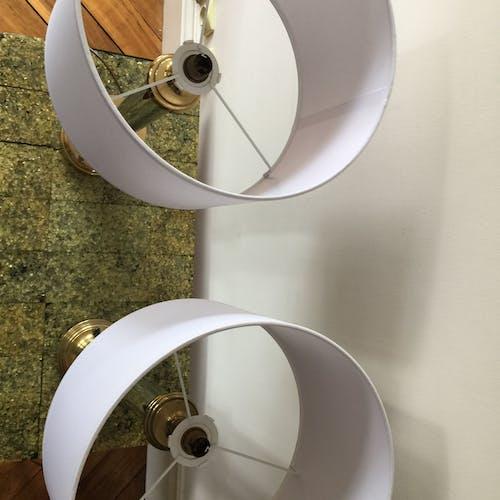 Paire de lampes chrome et laiton