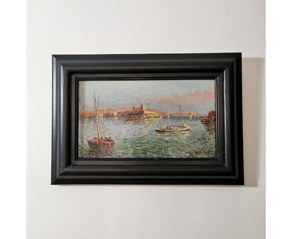 Paire de peintures à l'huile sur toile années 1930