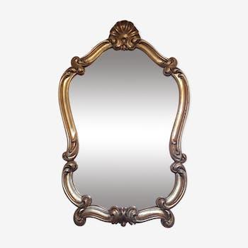 Miroir doré style Louis XV rococo rocaille, 67x43cm