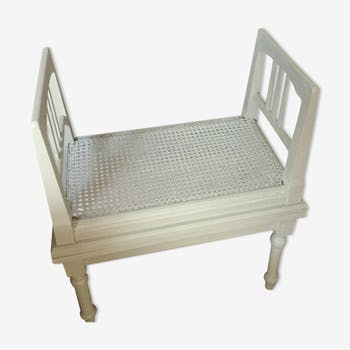Wood little bench caned