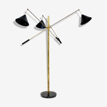 Lamp post pendulum with 3 arms in the style of Italian creations of the 1950s