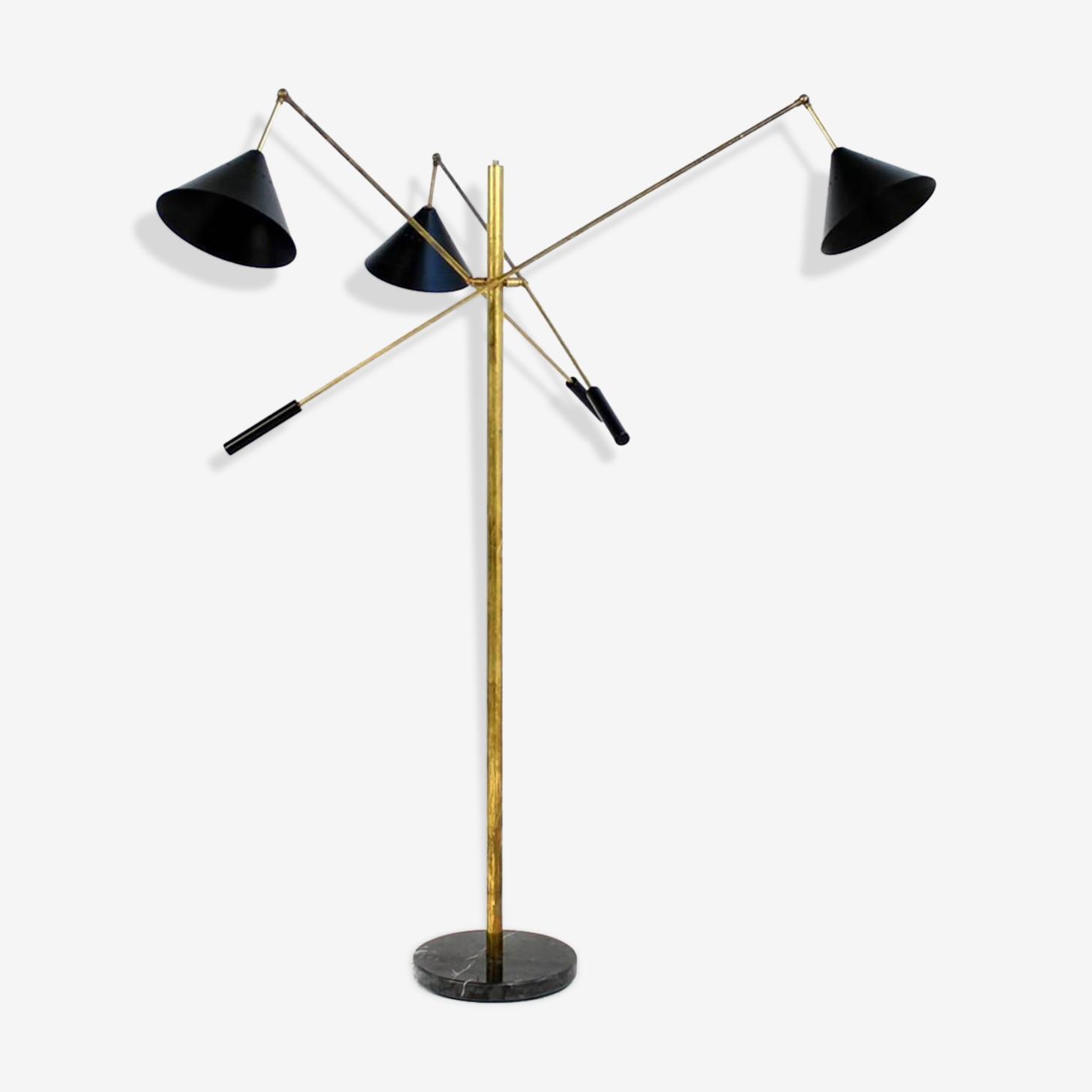 Lampadaire balancier à 3 bras dans le style des créations italiennes des années 50