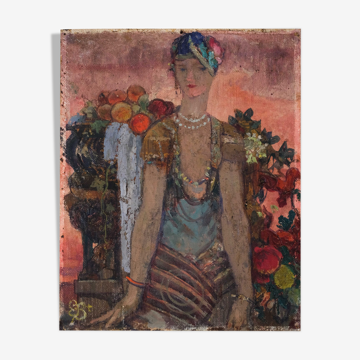 Peinture moderne, Femme aux fruits, Art déco