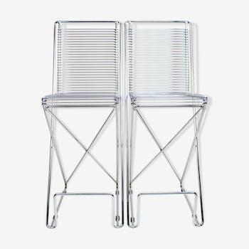 Kreuzschwinger chair by Till Behrens for Schlubach, bar stool, 80s industrial design, set of 2