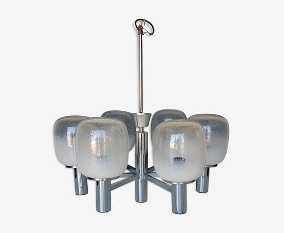 Lustre Vintage Annees 70 Crome Globes En Verre Soufle Metal